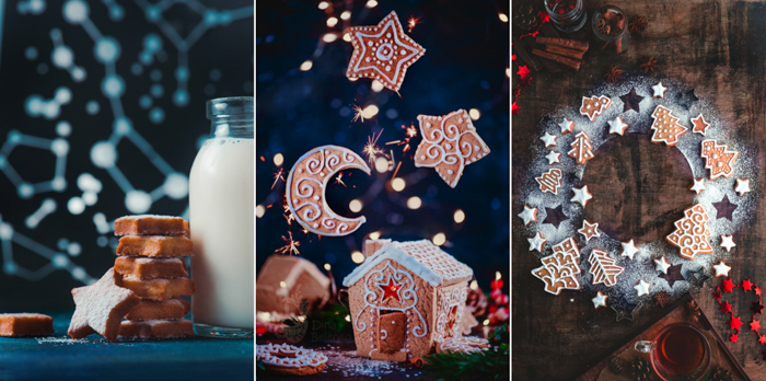 Triptych of creative christmas food photos