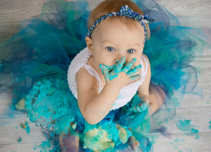 A cute portrait of a young baby with DIY photo background