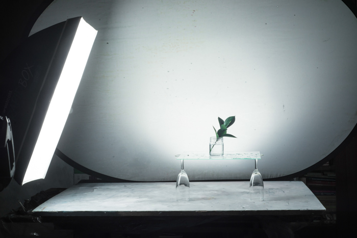 A glass photography photo session setup