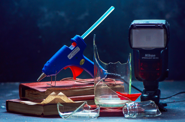 Setting up a creative exploding glass photo - photography equipment
