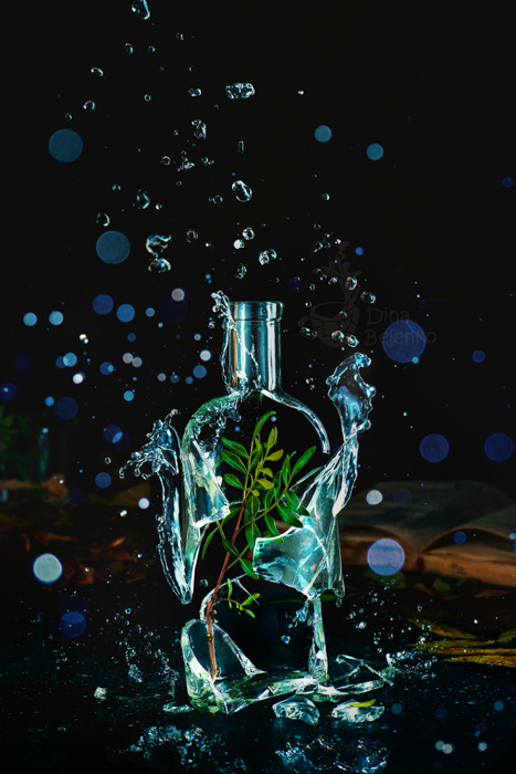 A creative exploding glass bottle photo