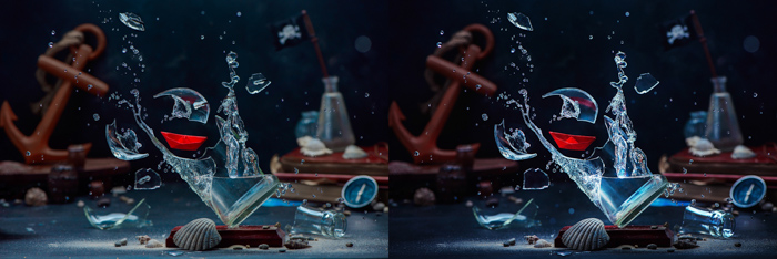 A creative exploding glass photo diptych comparing before and after editing