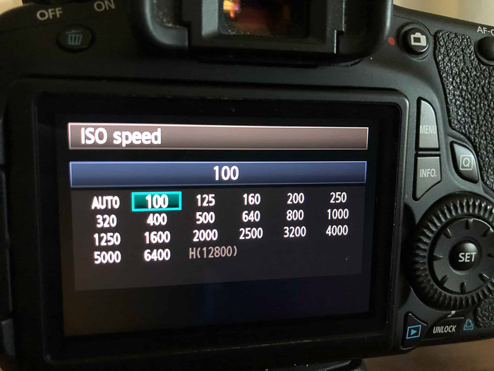 Changing ISO settings in-camera