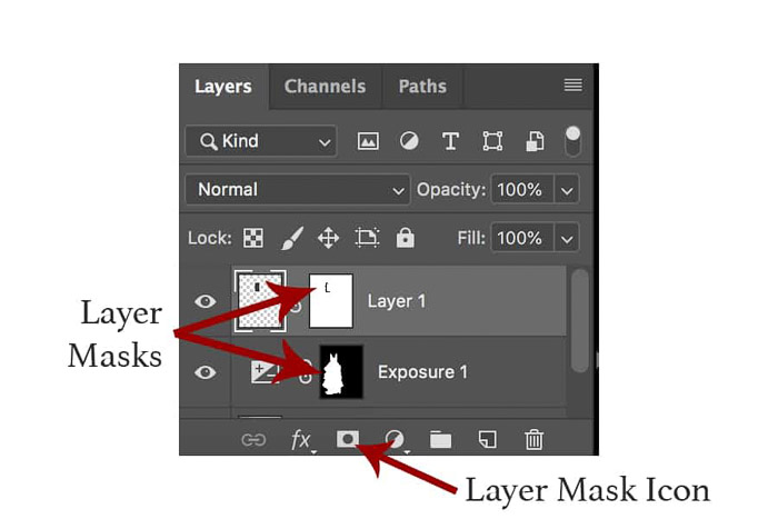 A close up screenshot of the layers panel in photoshop for learning Photoshop masking
