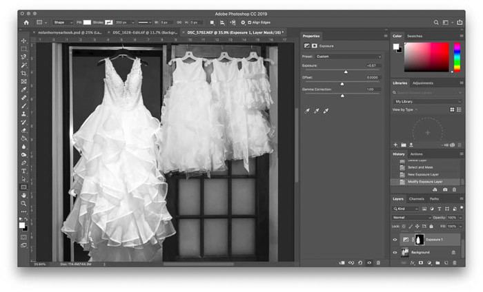 Screenshot showing how to create a Photoshop mask using an adjustment layer