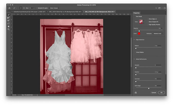 A screenshot of how to Use Select and Mask for easy Photoshop Masking