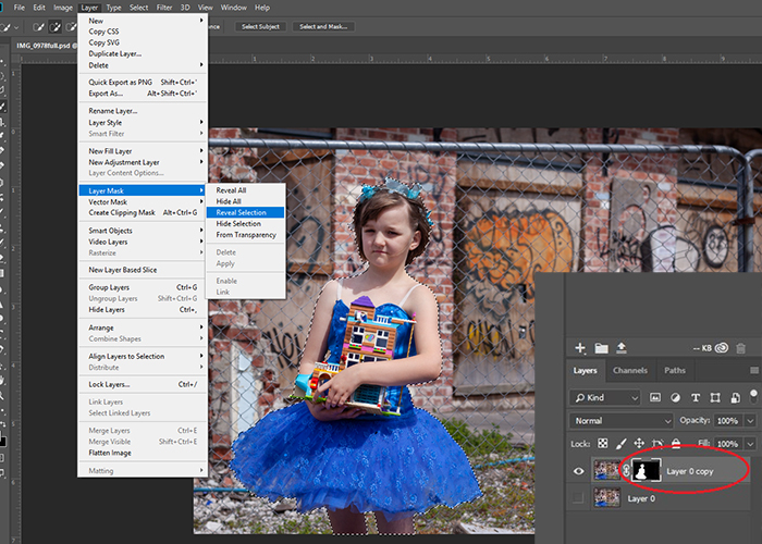 Screenshot of how to use the quick selection tool in Photoshop