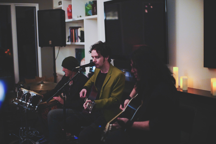 Three musicians performing, shot with a Sony a7R II camera