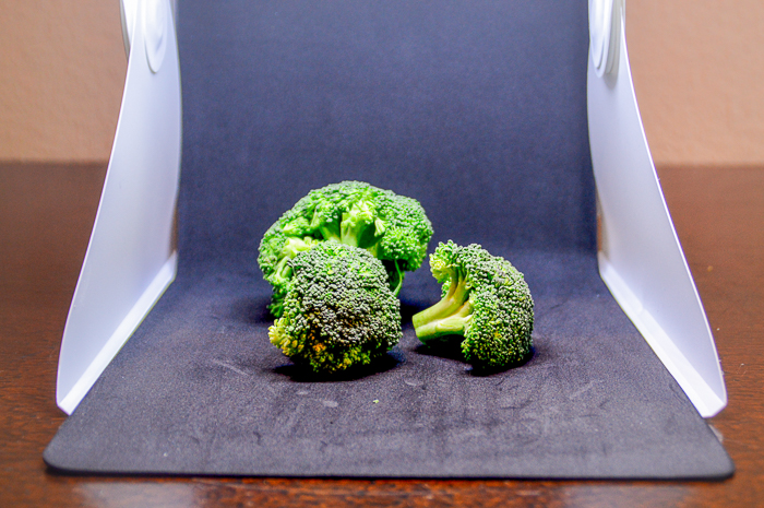 Three pieces of broccoli set up in a light tent
