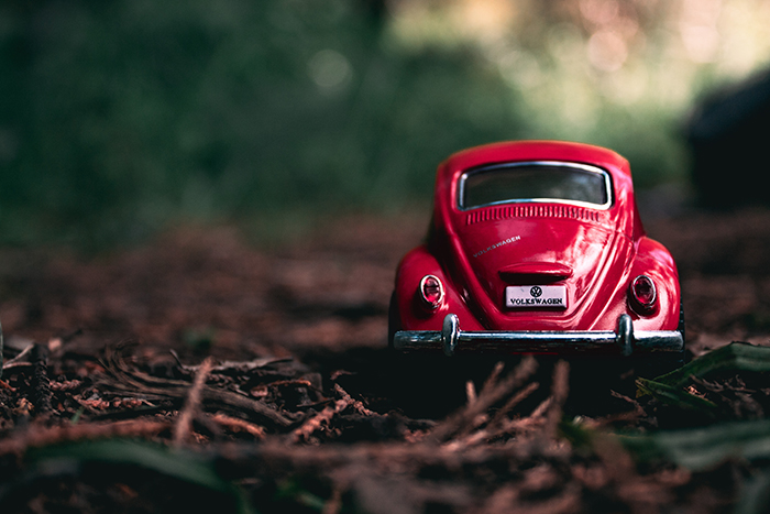 a red toy car photographed in a forest