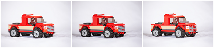 Three photos of the same Lego truck, but with different focal points.