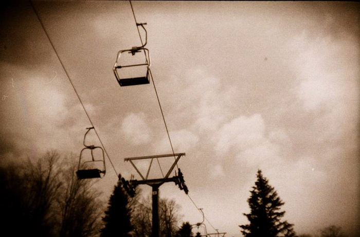 A cable car line shot in a pastel-like tonal range - best black and white film