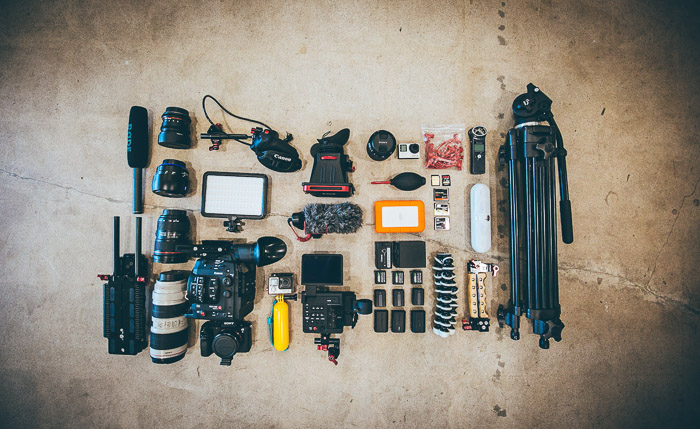 Flat lay of various camera accessories