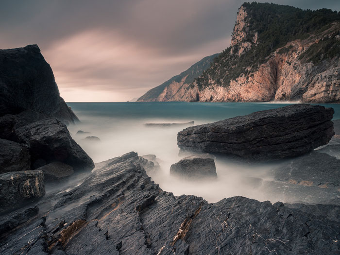 A stunning seascape shot in Porto Venere, Italy in a stormy afternoon, using Bulb Mode