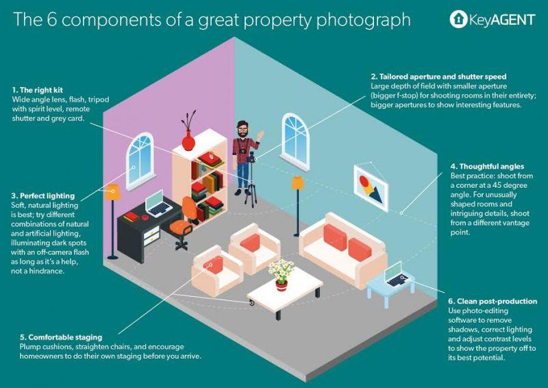 Gran infografía de componentes de fotografía de propiedad