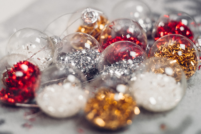 A pile of Christmas ornaments