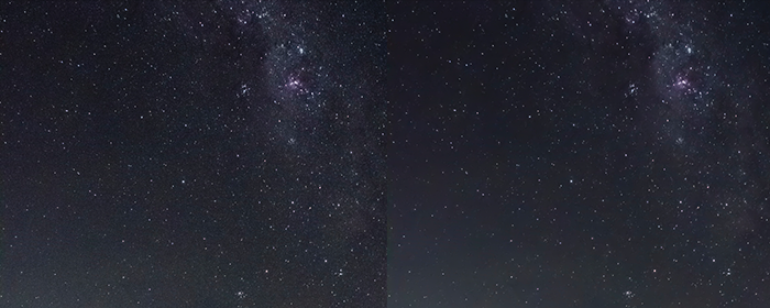 Diptych of a star filled sky before and after noise reduction