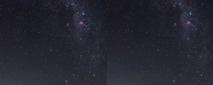 Díptico de um céu cheio de estrelas antes e depois da redução de ruído