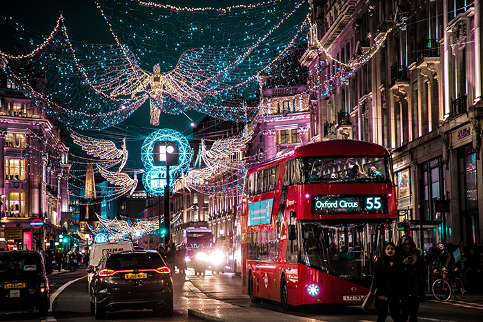 A brightly lit Christmas cityscape in London