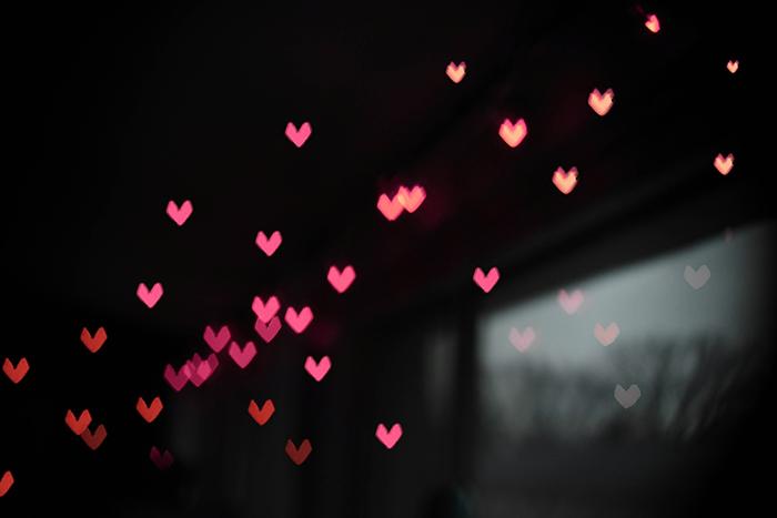 Luzes Bokeh de Natal em Forma de Coração