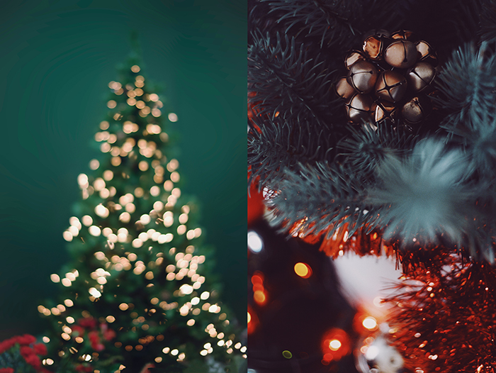 Diptych christmas photo of decorations