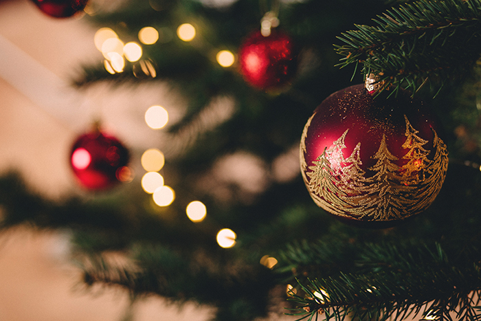 Atmospheric Christmas photography of a decorated tree