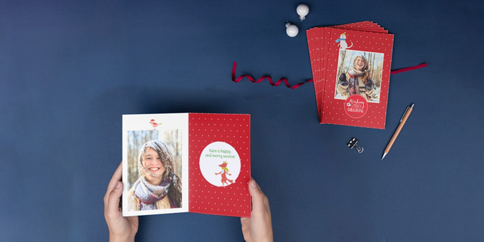 Flat lay of handmade christmas photo cards