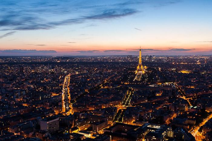 Aerial view of the Paris City Skyline.