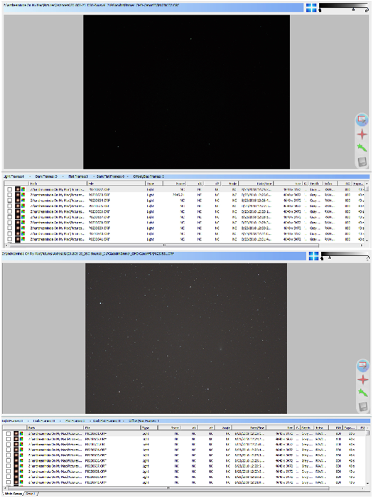 By using the visual stretching, the image brightens enough to easily spot the comet. On the right side of the window, the small menu to manipulate the image is visible.