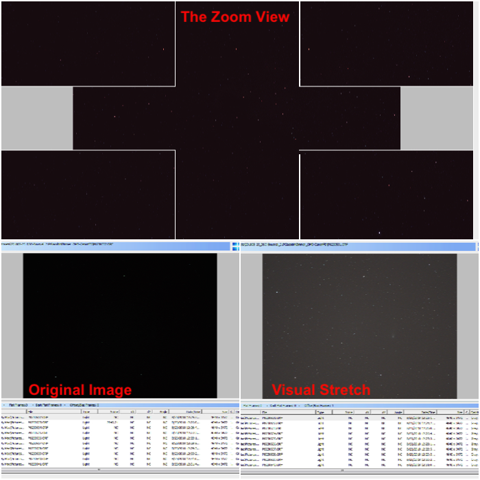 Deep Sky Stacker interface -Magnified panels in the zoomed view and the effect of the visual stretching .