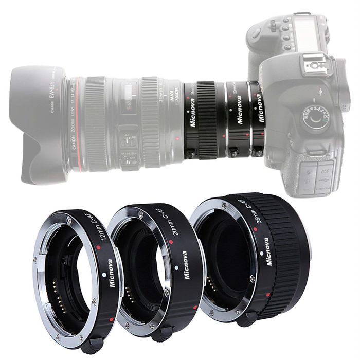 A DSLR camera and extension tube kit