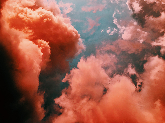 Brightly colored shot of a cloudy sky, photography art