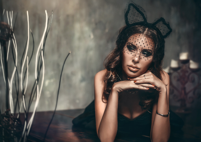 gorgeous glamour model wearing black lace animal ears