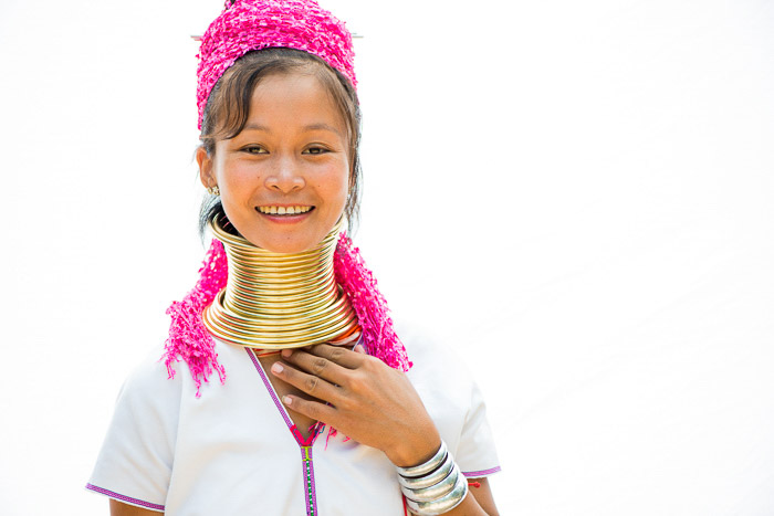 A high key photography portrait of a Thai girl in traditional clothing