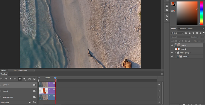A screenshot of how to make a cinemagraph in Photoshop