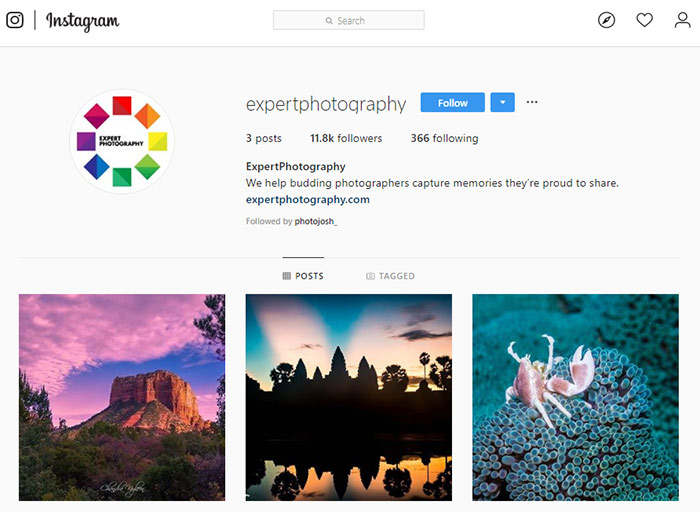 A screenshot of ExpertPhotography Instagram page