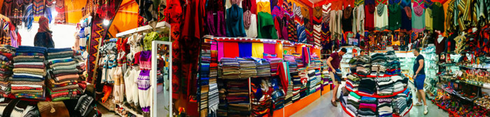Colorful iPhone panoramas shot of an indoor fabric market