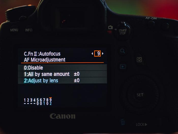 The Auto Focus settings on a Canon DSLR