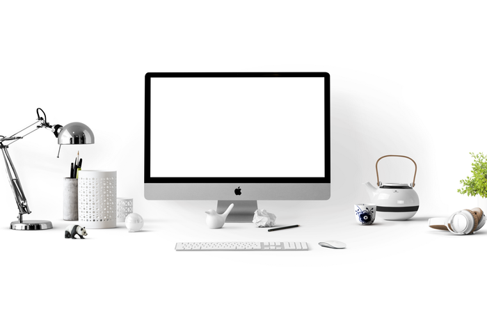 A pristine white office setup - photography marketing ideas