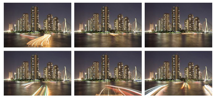 A 6 photo grid of a cityscape