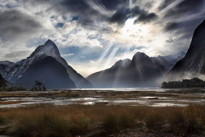 A mountainous landscape image with dramatic sky created using Photoshop Lighting effects