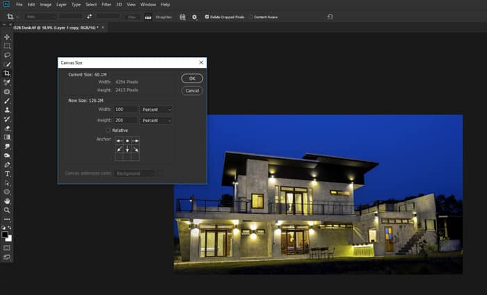A screenshot of doubling the canvas size to make a reflection in Photoshop