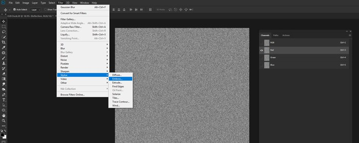 Screenshot of how to emboss the Texture to make a Photoshop reflection