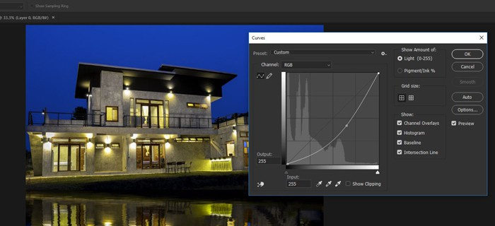 Screenshot of how to create a reflection in Photoshop - curves