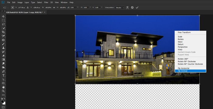 Screenshot of how to flip a layer in photoshop