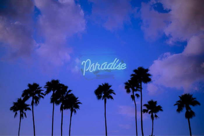 A photo of palm trees with a neon sign saying 'Paradise', created by superimposing two photos