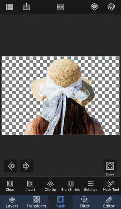 Screenshot of using masking on the superimpose app