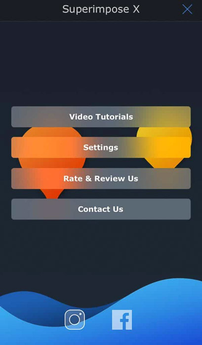 Screenshot of the Superimpose X app