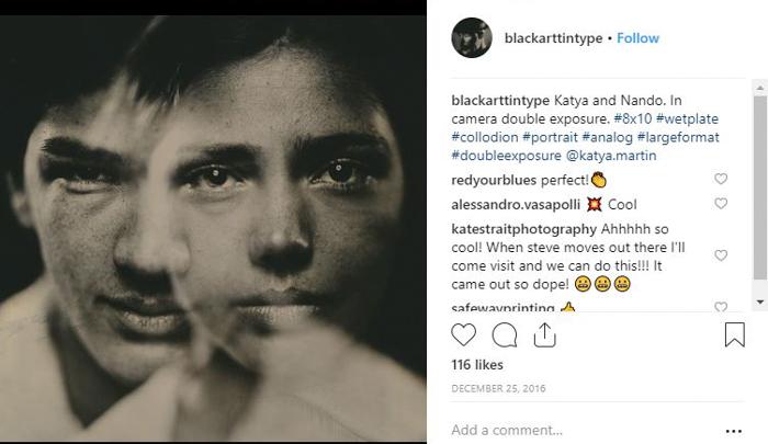Screenshot of Black Art tintype portraits Instagram page