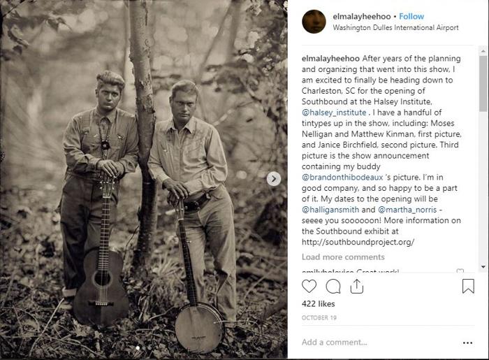 Screenshot of Lisa Elmaleh tintype portraits Instagram page